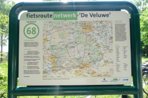 Knooppuntkaart van fietsroutenetwerk Veluwe, Nederland
